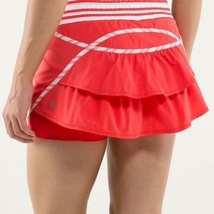 Lululemon Run Track Attack Skort Red Ruffled Sz 4